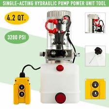 Hydraulic Pump 12V Single-Acting 4 Quart for Wood Splitter Dump Bed Tow Plow