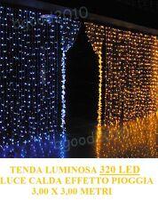 TENDA LUMINOSA LUCI NATALE 360LED LUCE CALDA EFFETTO PIOGGIA 3Mx250 PROLUNGABILE