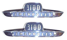 "1955 1st Series Hood Side ""3100"" Emblems Chevrolet Chevy 1/2 Ton Truck Pair"