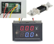 DC 0-300V 500A Dual LED Digital Volt Amp Voltage Power Meter + 500A/75mV Shunt