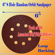 """60 X 60/120/240 Grit 6""""x 8 Hole Sanding Disc Sandpaper Hook and Loop Palm Paper"""