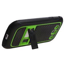 Samsung Galaxy S III 3 TPU Impact Hard Skin Case Cover Kick Stand Black Green
