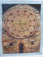 "Oil Painting on Canvas ""Evening"" Clock by Russian Artist Neringa Jakaitiene"