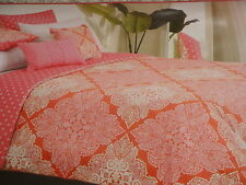 STYLE HAPPY Pink Orange Damask FULL QUEEN Comforter 5p Set REVERSIBLE