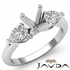 Genuine Diamond Engagement Three Stone Ring Platinum 950 Pear Round Mount 0.5Ct