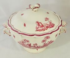 Gien China France Paysages Roses Large Footed Covered Bowl Soup Tureen W/Lid EUC