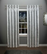 Crushed Velvet Curtains Pair Eyelet Ring Top - Fully Lined - Red -Black - Silver