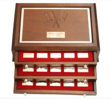 925 Silver Franklin Mint 75 Piece Racing Cars Ingot Set w/Mahogany Collector Box