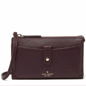 KATE SPADE Jackson Chocolate Cherry Leather Small Tab Wallet Crossbody     NEW