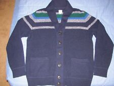 Men's GAP Shawl Cardigan Sweater Premium Merino Wool Blend Navy Blue Multi Sz L