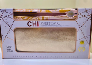 "CHI SWEET SWIRL 1"" Ceramic Hairstyling Flat Iron + Clutch Rose Gold"