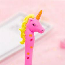 2X Kawaii Unicorn Black Ink Gel Pens 0.38mm Cartoon Plastic Writing Students New