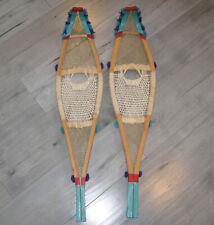 Vintage Quebec Indian Children Snowshoes W/ Pompom & Painting