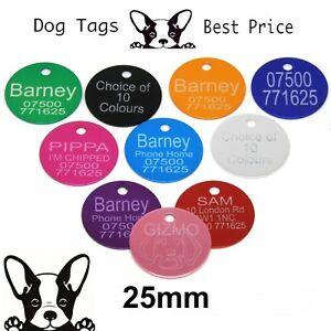 Engraved Pet Tags Aluminium DOG CAT ID Disc 10 Colours Deep Engraving Identity