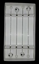 GLASS SOCCER BALL DRINK STIR SWIZZLE STICK SET OF 4