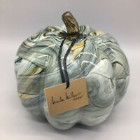"Nicole Miller Pumpkin Hand Blown Art Glass Brown Blue Green Swirl Fall 7"" NEW"