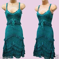 KAREN MILLEN GREEN CROCHET FLAPPER CHARLESTON 20s VINTAGE GATSBY Dress 3(12 UK)