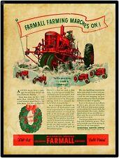 1940 International Harvester NEW Metal Sign: Farmall M Tractor - Christmas Theme