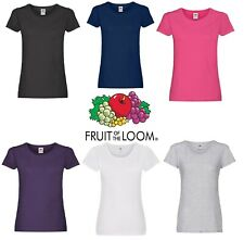 Ladies Womens Fruit of the Loom Plain Coloured Cotton Fitted T-Shirts Tee Shirt