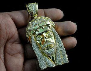 Icy Men Bling King 14k Yellow Gold Finish Diamond Simulated XL Jesus Pendant New