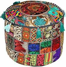 Vintage Patchwork Embroidered Cotton Ottoman Pouffe Cover Handmade Footstool Art