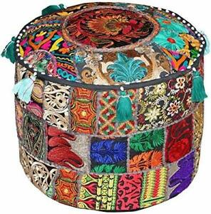 Cotton Ottoman Pouffe Cover Handmade Footstool Art Vintage Patchwork Embroidered