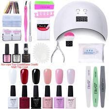 UV Gel Nail Polish Kit Starter Manicure Set LED Nail Lamp Base Top Coat Tools