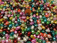 1/2 POUND LOT ASSORTED COLOR REFLECTIVE GRANITE GLASS BEADS OVAL (010820162)