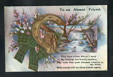 C1920s Greetings Card: Illustrated Horseshoe & Water Mill: To an Absent Friend