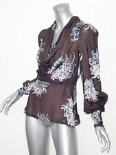 CAROLINA HERRERA  Womens Brown Chiffon Floral Long-Sleeve Shirt Top Blouse 2/XS