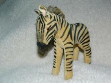 STEIFF VINTAGE 1951-58 FIRM BODY VELVET PLUSH ZEBRA RAISED SCRIPT BUTTON