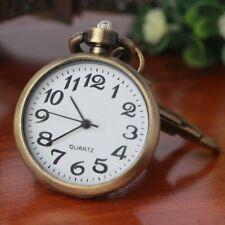 Retro Bronze Quartz Movement Keychain Keyring Watch Pocket Watch Round Dial KW