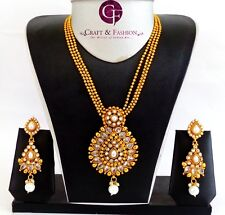 Designer One Gram Gold Plated Plated Pendant Necklace Set-Bollywood Jewellery