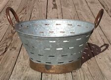 "Galvanized Tin Metal Small Olive Wash Basket with Handles, 10.5"" x 16"""