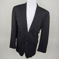 Jos A Bank Men's Black Pinstripe 2 Button Wool Suit Blazer Jacket 46R 46 Regular