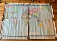 Vintage School Map of the World  printed in 1963