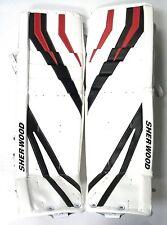 """New Sherwood T95 senior goal ice hockey goalie leg pads white/black/red Sr 35+1"""""""