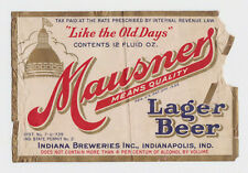 Mausners Lager Beer Irtp U-permit Beer Label Indiana Brewers Indianapolis