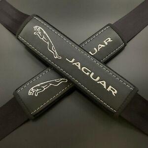 Black Seat Belt Shoulder Pads Covers Silver & gray embroidery fits Jaguar 2PCS