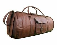 "22"" Men's Brown Vintage Genuine Leather large Travel Luggage Duffle Gym Bags"