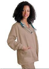 Scrubs Khaki Tan Warm Up Jacket Medium Adar Uniforms Top Round Neck Women's New