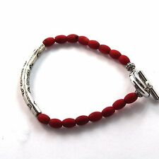 71/2 Inch Handmade Natural Coral with Rhodium Plated Silver Bracelet