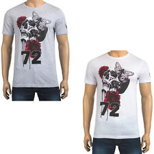 Mens T Shirt Brave Soul 72 Skull Red Rose Butterfly Printed Short Sleeve Top