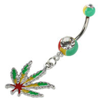 Jamaican Pot Leaf Dangle Crystal Navel Belly Ring Bar Y1X1