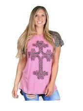 Southern Grace Leopard Cross Shirt Cheetah Hi Low Short Sleeve Womens Top Pink M