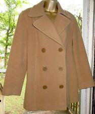 Anne Klein Coat Wool Winter Peacoat Double Breasted Camel Beige Brown Sz 6