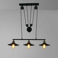 Industrial 3-Lights Pulley Pendant Light Kitchen Island Vintage Ceiling Fixture