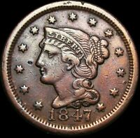 1847 Braided Hair Large Cent Penny ---- Nice Type Coin ---- #H404