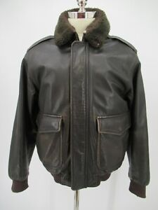 L7828 VTG L.L.Bean Men's flying Insulated Sherpa Lined Leather Jacket Size M