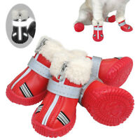 Waterproof Dog Shoes Reflective Anti Slip Winter Boots Warm Fleece Snow Booties